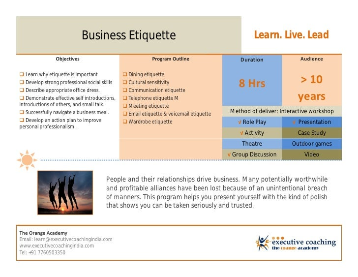 Business Etiquette                                                  Learn. Live. Lead                Objectives           ...