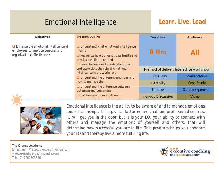 Emotional Intelligence                                                  Learn. Live. Lead               Objectives        ...