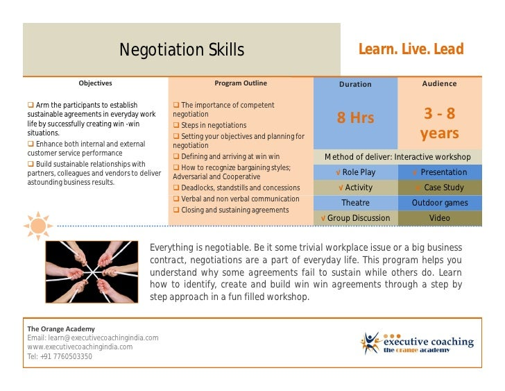 Negotiation Skills                                                     Learn. Live. Lead                Objectives        ...