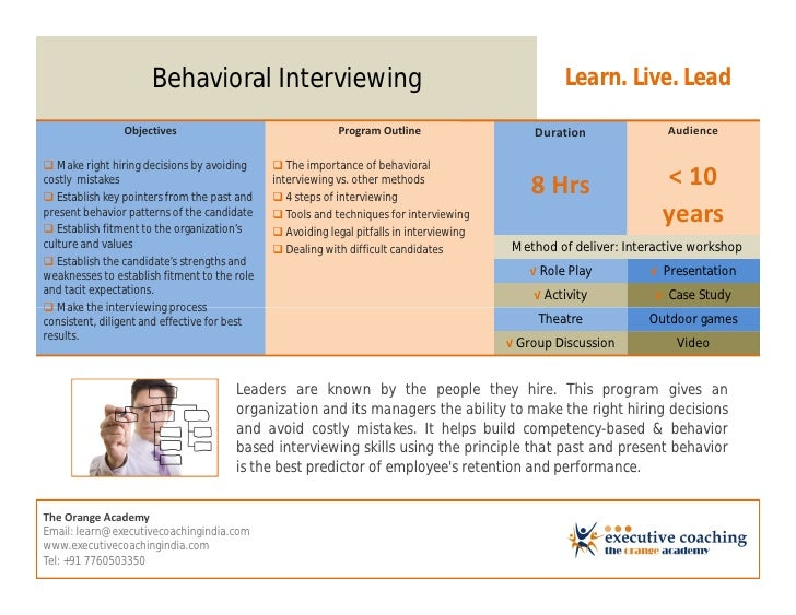Behavioral Interviewing                                                      Learn. Live. Lead                Objectives  ...