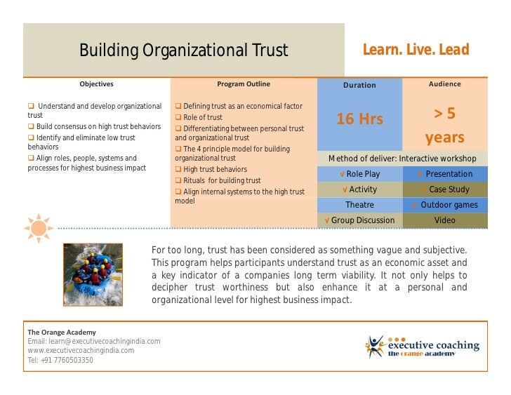 Building Organizational Trust                                                      Learn. Live. Lead               Objecti...
