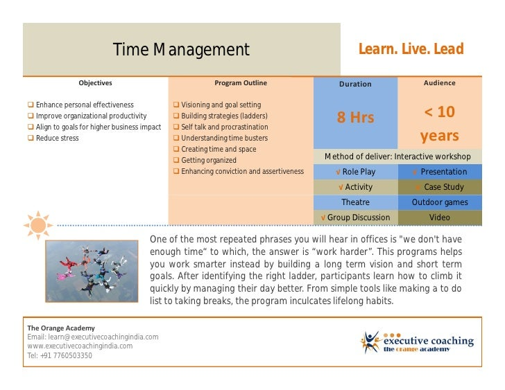 Time Management                                                      Learn. Live. Lead                Objectives          ...