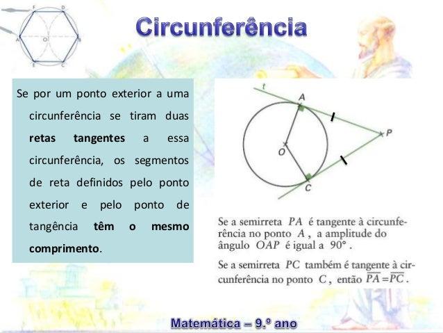 Se por um ponto exterior a uma circunferência se tiram duas retas tangentes a essa circunferência, os segmentos de reta de...