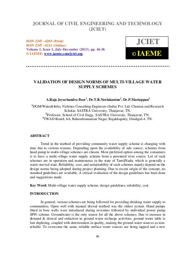 Journal of Civil Engineering and Technology (JCIET), ISSN 2347 –4203 (Print), ISSN 2347 –4211 (Online), Volume 1, Issue 1,...