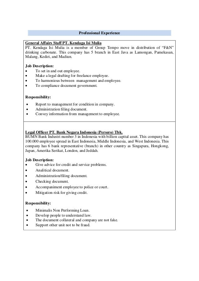 Cv hengky - Compliance officer bank job description ...