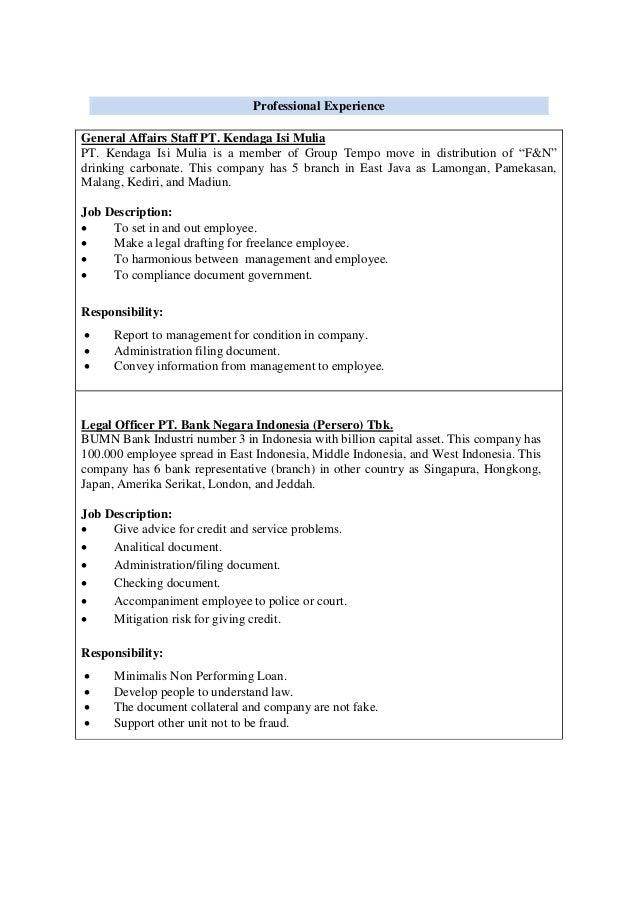 Cv hengky - Bank compliance officer job description ...
