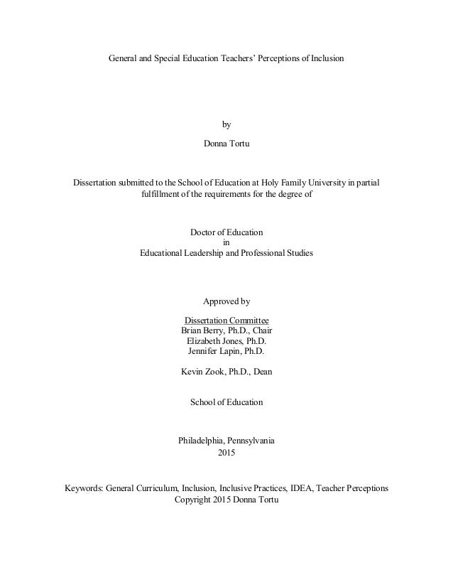Dissertation perceptions of education