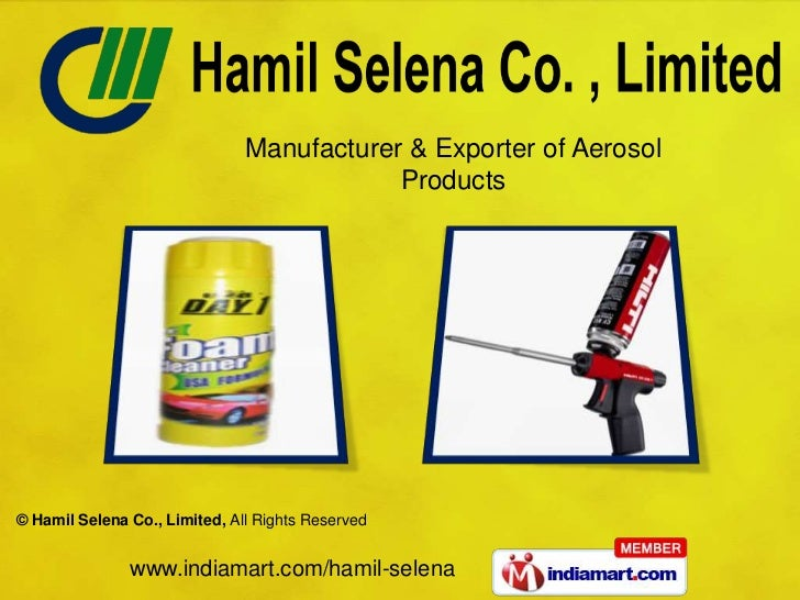 Manufacturer & Exporter of Aerosol                                           Products© Hamil Selena Co., Limited, All Righ...