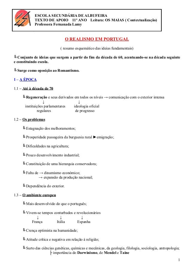 ESCOLA SECUNDÁRIA DE ALBUFEIRA TEXTO DE APOIO 11º ANO Leitura: OS MAIAS ( Contextualização) Professora Fernanada Lamy O RE...