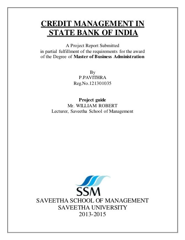 Credit risk management sbi credit management in state bank of india a project report submitted in partial fulfillment of the fandeluxe Image collections