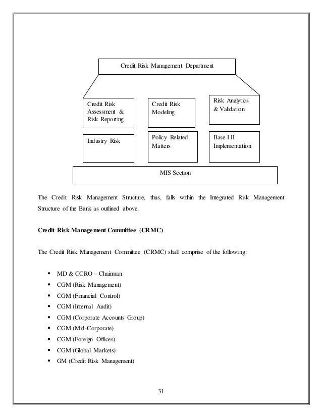 intern report on credit risk management