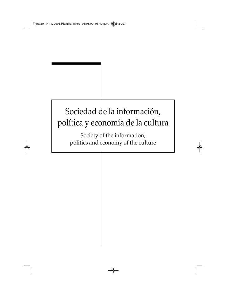 Tripa 20 - Nº 1, 2008:Plantilla Ininco 06/08/09 05:49 p.m. Página 207                         Sociedad de la información, ...