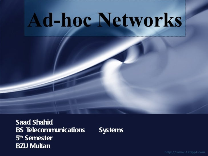 Saad Shahid BS Telecommunications  Systems 5 th  Semester BZU Multan Ad-hoc Networks