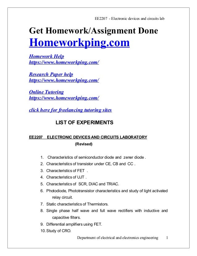 EE2207 - Electronic devices and circuits lab Get Homework/Assignment Done Homeworkping.com Homework Help https://www.homew...