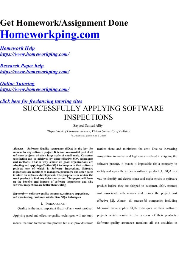 Software inspection research paper stainless steel research paper