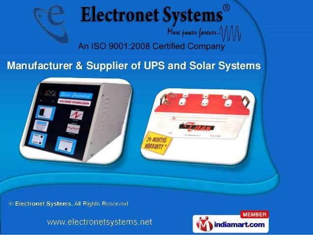 Manufacturer & Supplier of UPS and Solar Systems