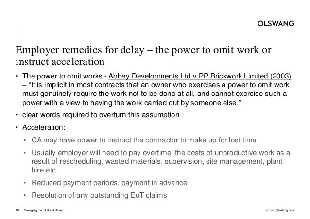 Managing the Risks of Delay in Construction Projects
