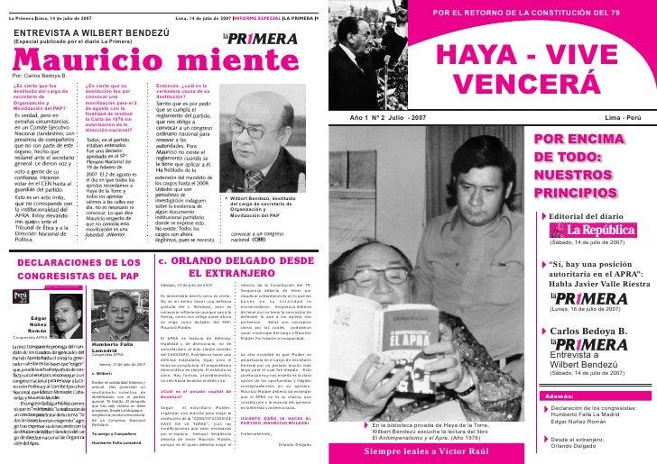 POR EL RETORNO DE LA CONSTITUCIÓN DEL 79 La Primera Lima, 14 de julio de 2007                                             ...