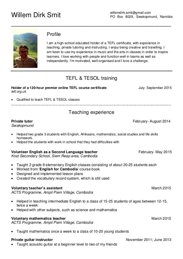 tefl certificate template - tefl cv 15 september update pdf