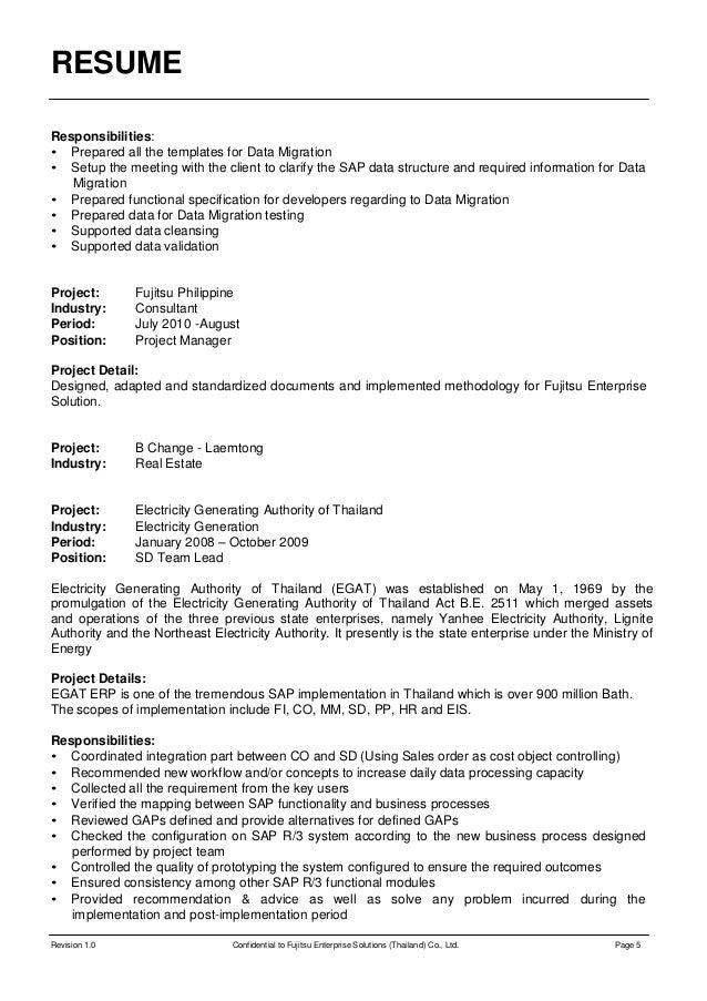 erp implementation resume sample