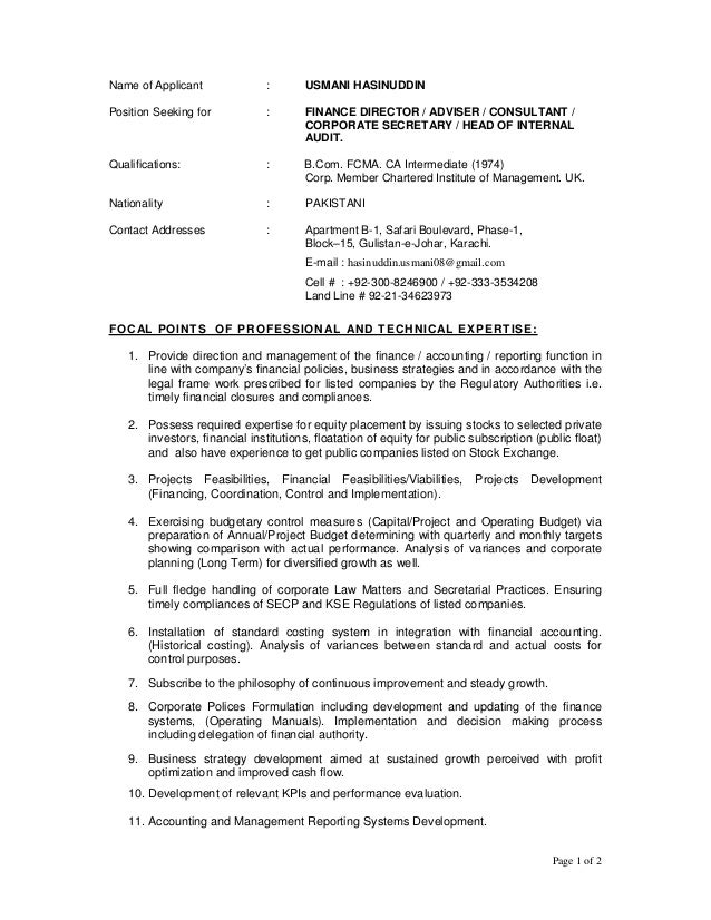 Page 1 of 2 Name of Applicant : USMANI HASINUDDIN Position Seeking for : FINANCE DIRECTOR / ADVISER / CONSULTANT / CORPORA...