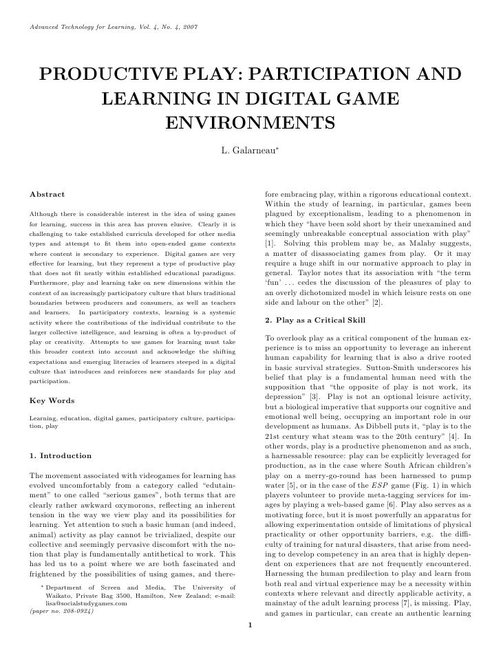 Advanced Technology for Learning, Vol. 4, No. 4, 2007        PRODUCTIVE PLAY: PARTICIPATION AND        LEARNING IN DIGITAL...