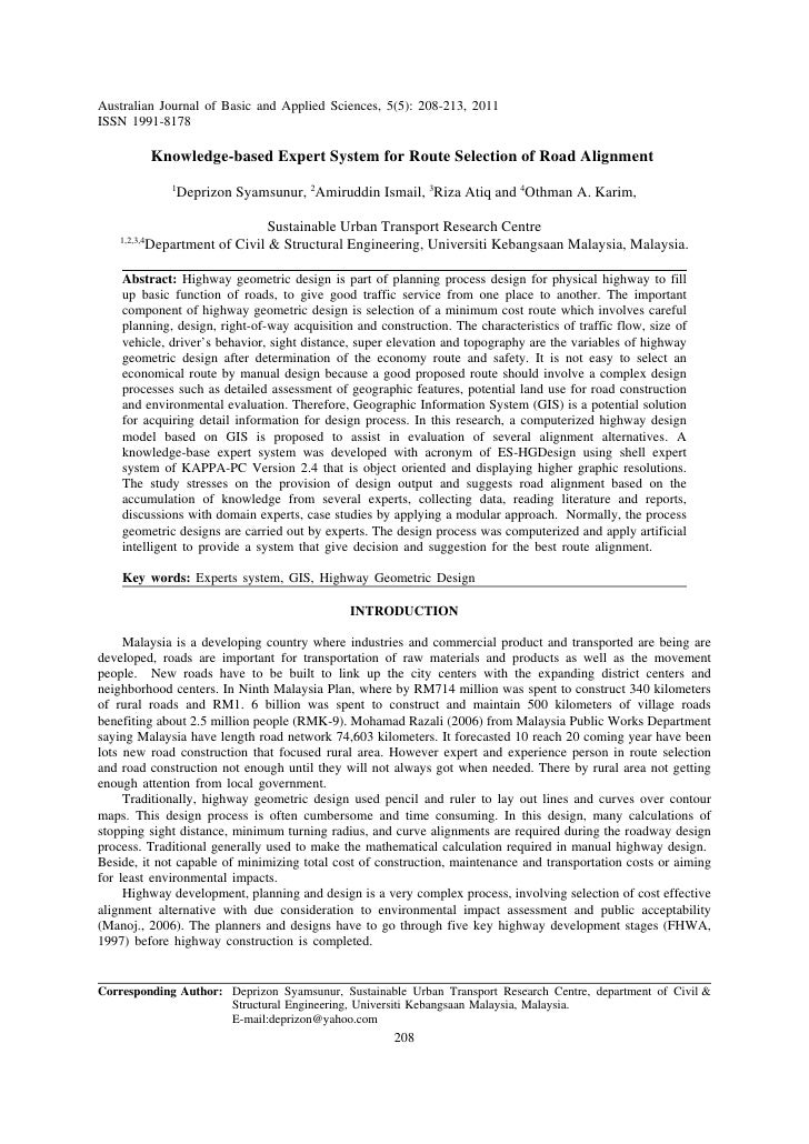 Australian Journal of Basic and Applied Sciences, 5(5): 208-213, 2011ISSN 1991-8178              Knowledge-based Expert Sy...
