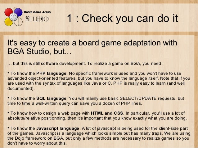 The 8 steps to create a board game on Board Game Arena Slide 2