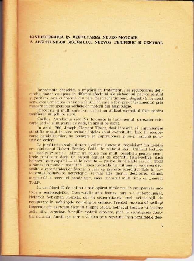 "-! I KI|E""IOTERAPI,A iN ITEEDUCAREA NEULO-MOTOIUE A AFECTTUN,TLOR STSTEMULI-II NERVOS PELTFERIC gI CENTRAL hnportan{a deos..."