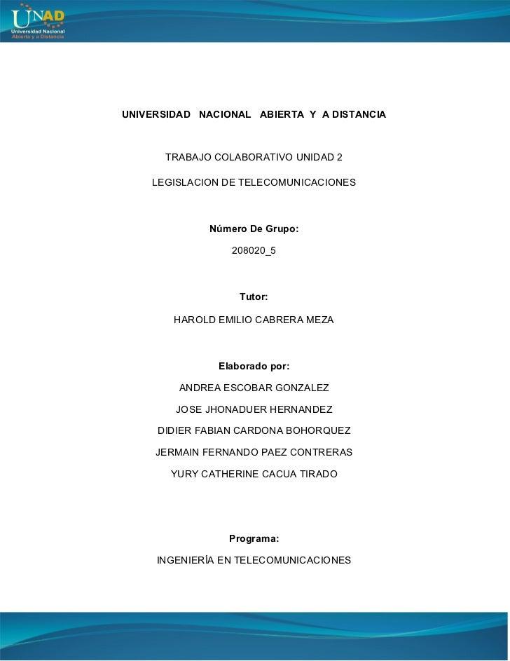 Trabajo colaborativo N2 legislación en telecomunicaciones