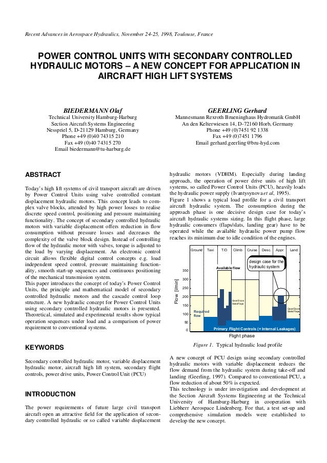 Recent Advances in Aerospace Hydraulics, November 24-25, 1998, Toulouse, France POWER CONTROL UNITS WITH SECONDARY CONTROL...