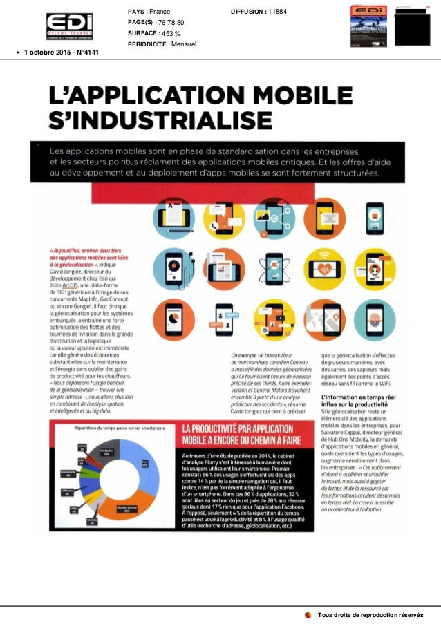 L' APPLICATION MOBILE S' INDUSTRIALISE Lesapplications mobiles sont en phase de standardisation dans lesentreprises et les...