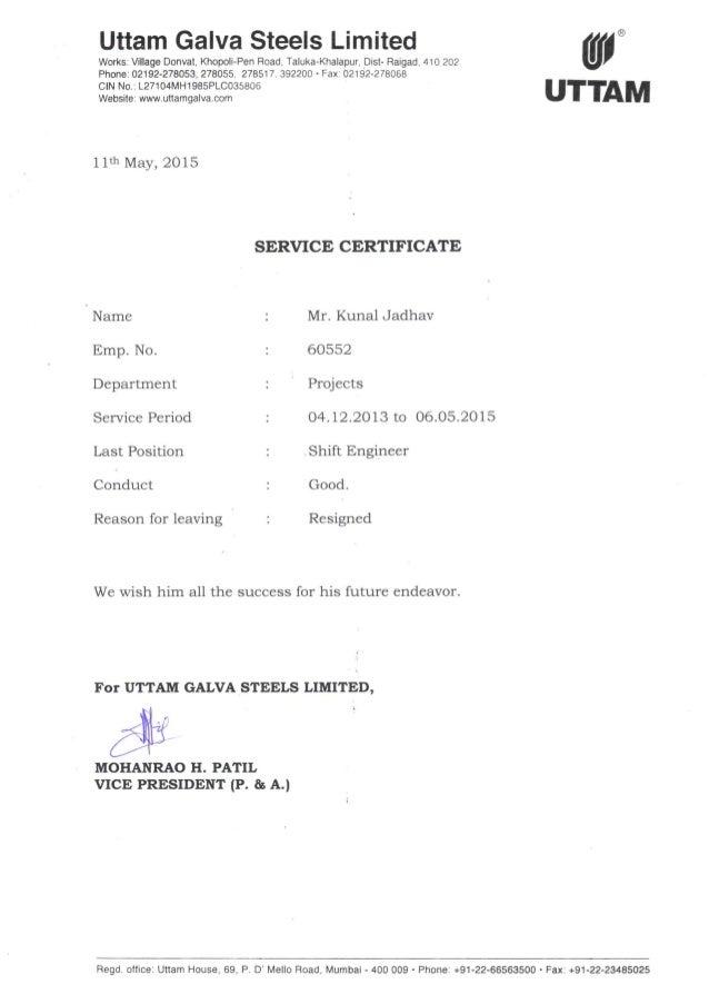 Uttam Galva Release certificate
