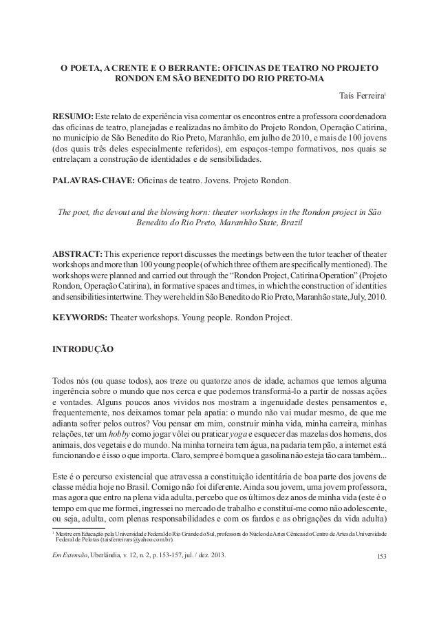 153Em Extensão, Uberlândia, v. 12, n. 2, p. 153-157, jul. / dez. 2013. O POETA, A CRENTE E O BERRANTE: OFICINAS DE TEATRO ...