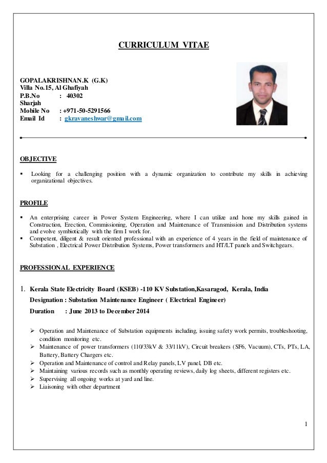 ELECTRICAL ENGINEER CV. 1 CURRICULUM VITAE GOPALAKRISHNAN.K (G.K) Villa  No.15, ... Regard To Resume For Electrical Engineer