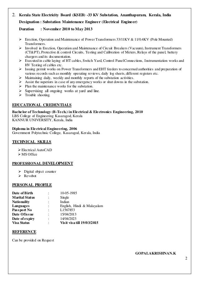 Electrical Engineer Cv .