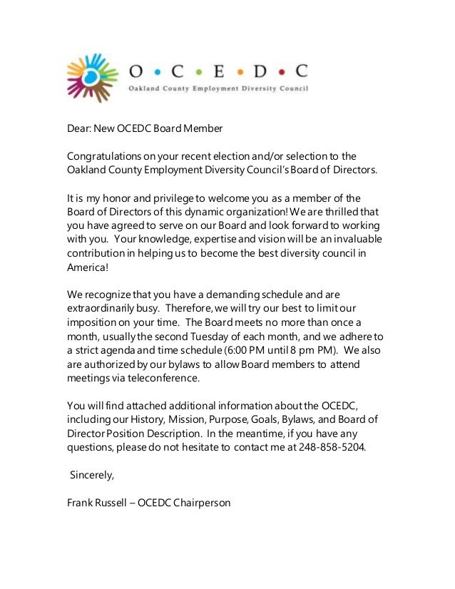 Ocedc letter dear new ocedc board member congratulations on your recent election andor selection to altavistaventures Gallery