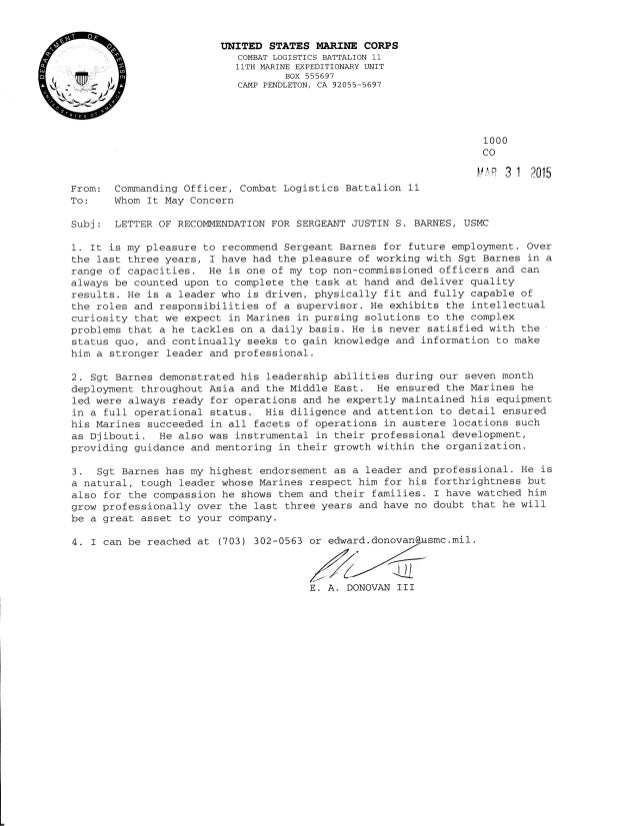 Letter of recommendation letter of recommendation tnited states ittarine corps combat logistics battalion 1 11th marine expeditionary unit spiritdancerdesigns Gallery