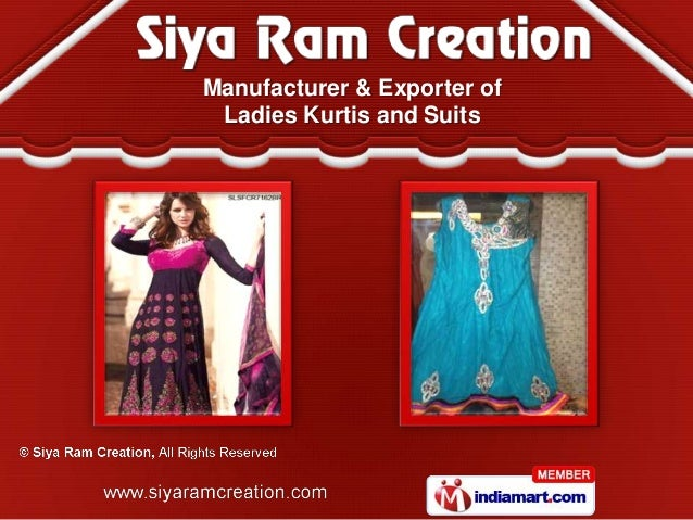 Manufacturer & Exporter of Ladies Kurtis and Suits