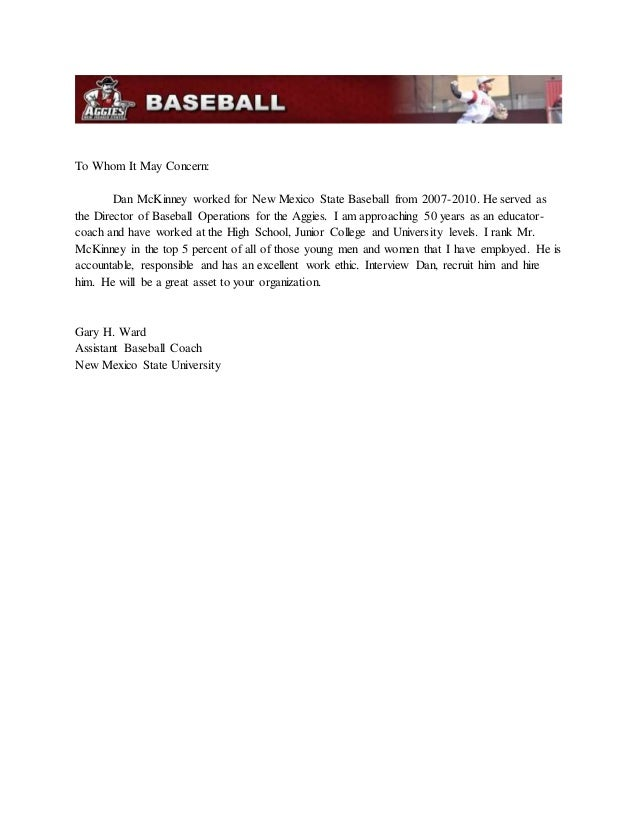 gary ward recommendation letter