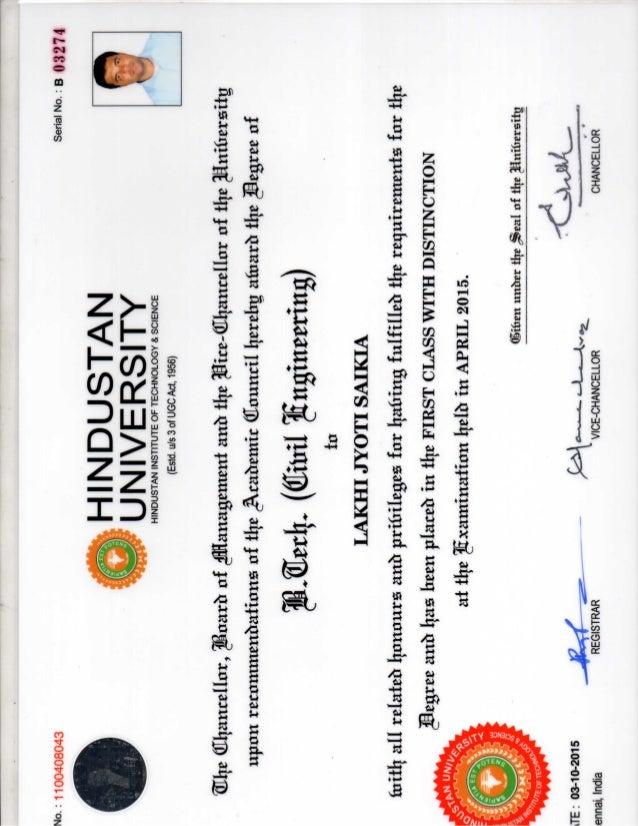 B.Tech Degree certificate