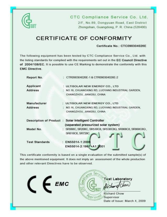 CE Certificate of Ultisolar New Energy SR208C SR530C8 SR618C6 SR728C