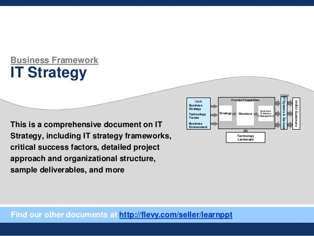 Business Framework IT Strategy This is a comprehensive document on IT Strategy, including IT strategy frameworks, critical...