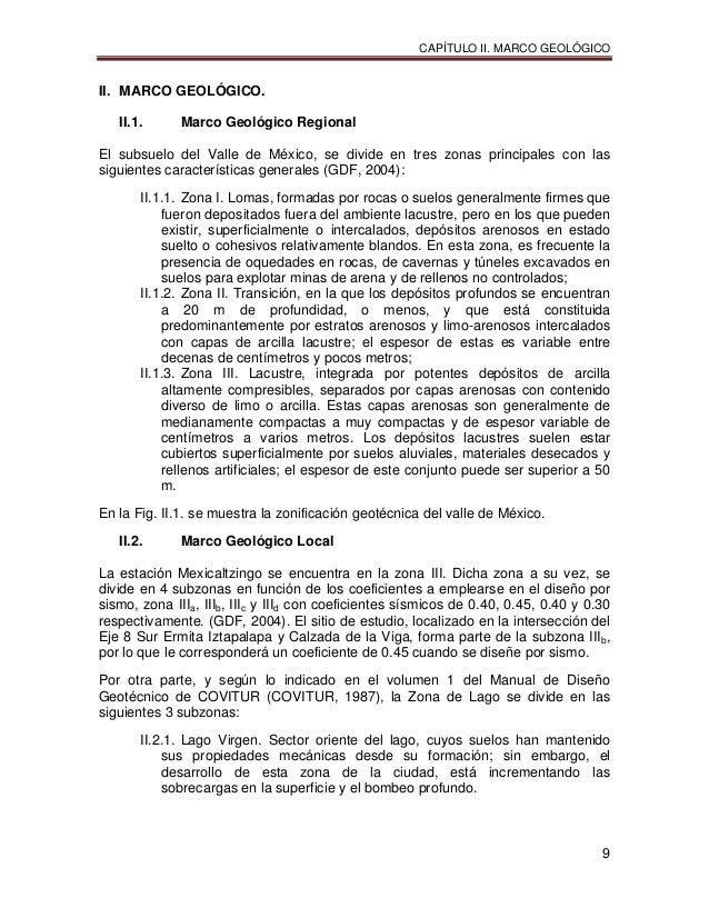 CAPÍTULO II. MARCO GEOLÓGICO 9 II. MARCO GEOLÓGICO. II.1. Marco Geológico Regional El subsuelo del Valle de México, se div...