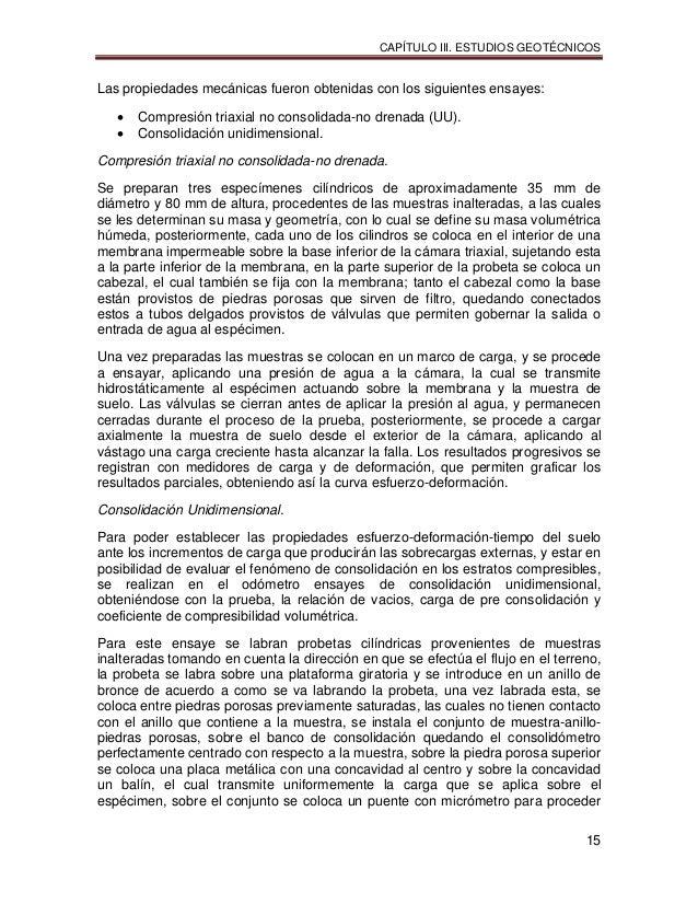 CAPÍTULO III. ESTUDIOS GEOTÉCNICOS 15 Las propiedades mecánicas fueron obtenidas con los siguientes ensayes:  Compresión ...
