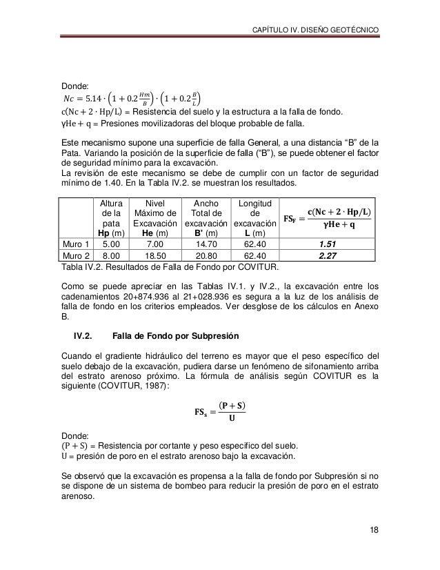 CAPÍTULO IV. DISEÑO GEOTÉCNICO 18 Donde: = Resistencia del suelo y la estructura a la falla de fondo. = Presiones moviliza...