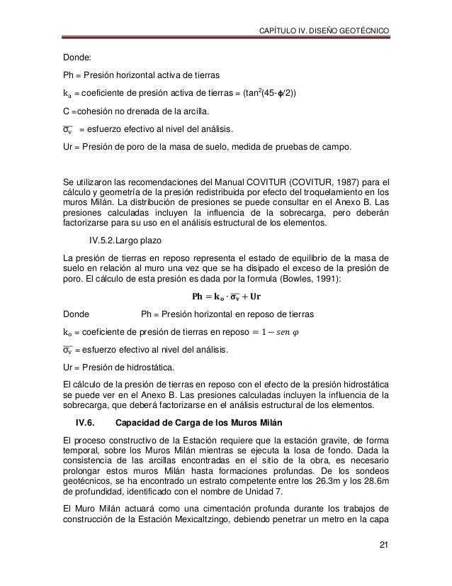 CAPÍTULO IV. DISEÑO GEOTÉCNICO 21 Donde: Ph = Presión horizontal activa de tierras = coeficiente de presión activa de tier...