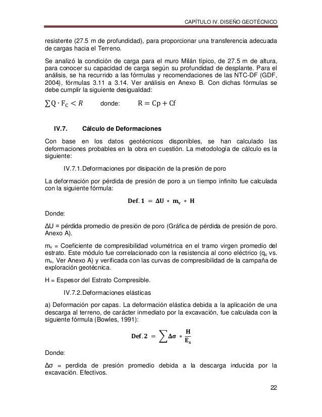 CAPÍTULO IV. DISEÑO GEOTÉCNICO 22 resistente (27.5 m de profundidad), para proporcionar una transferencia adecuada de carg...