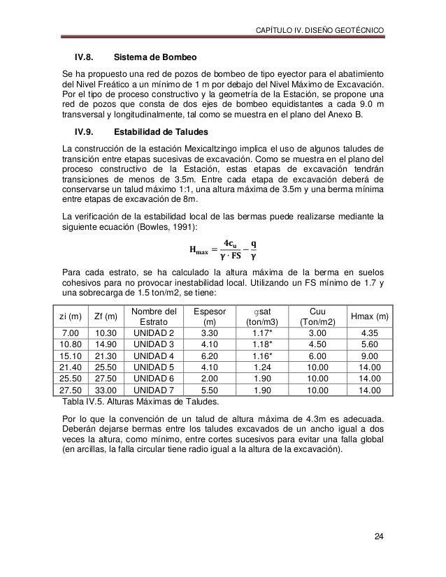 CAPÍTULO IV. DISEÑO GEOTÉCNICO 24 IV.8. Sistema de Bombeo Se ha propuesto una red de pozos de bombeo de tipo eyector para ...