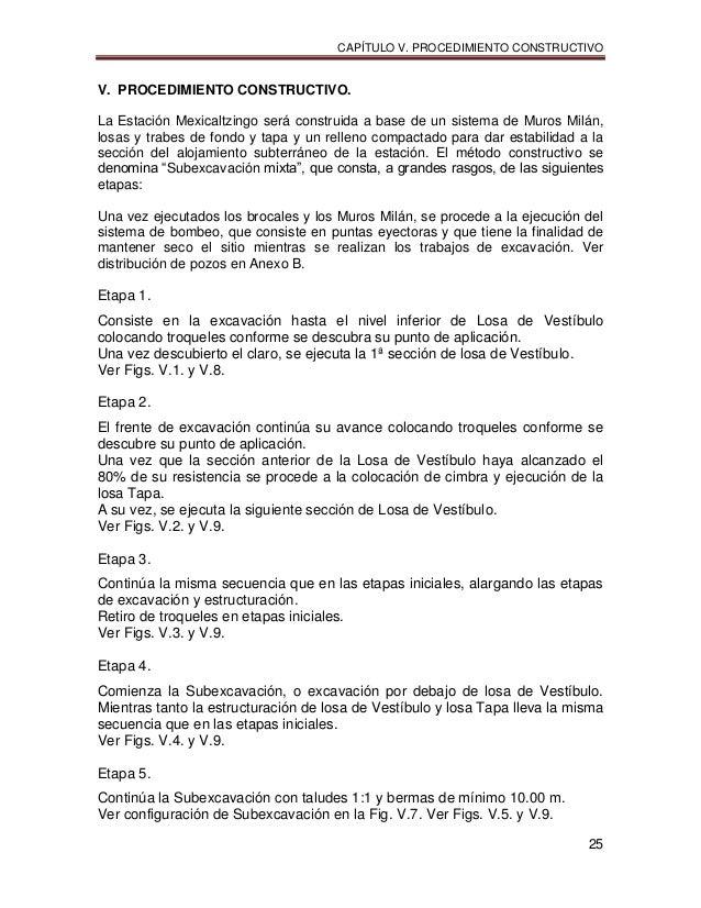 CAPÍTULO V. PROCEDIMIENTO CONSTRUCTIVO 25 V. PROCEDIMIENTO CONSTRUCTIVO. La Estación Mexicaltzingo será construida a base ...